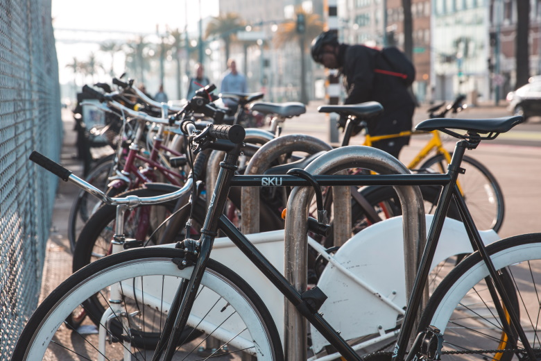 Commuter bikes park and locked up