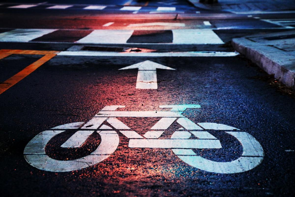 Cycle lane at night