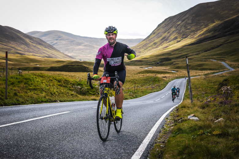 Nick Swan cycling in the hills of Scotland