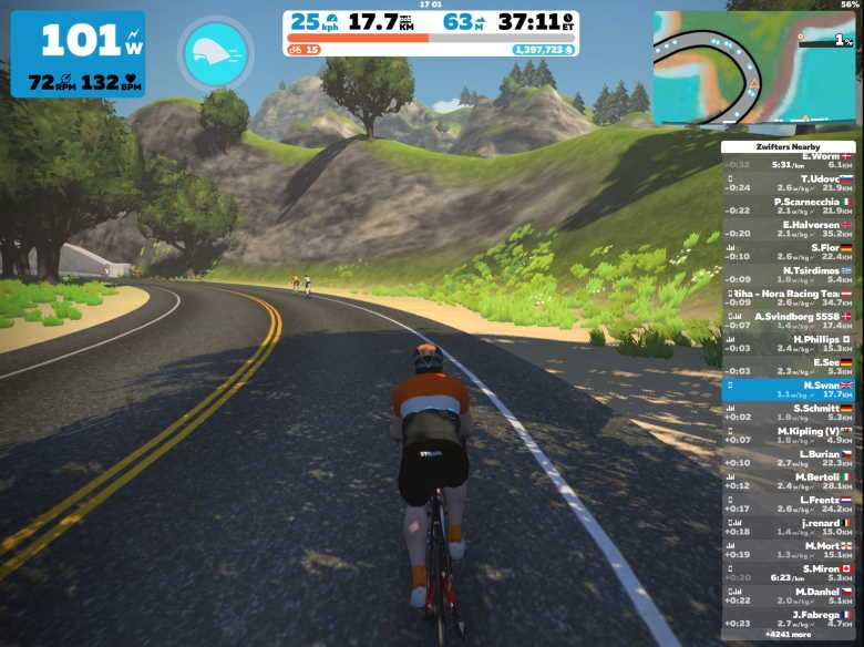 Screenshot of racing in Zwift