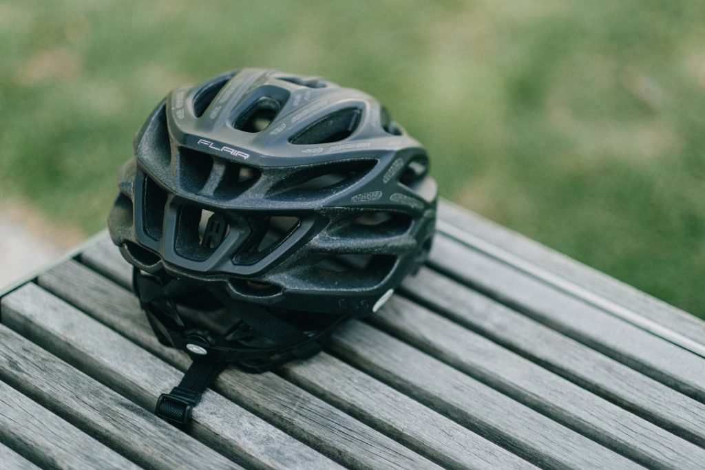 Cycling helmet on a bench